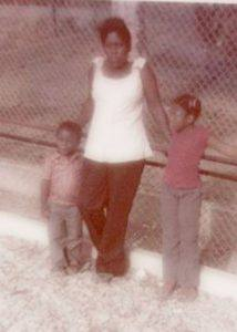 My mother, my sister and me. Many years ago. That's me on the left.